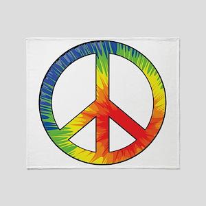 Peace Sign Tie Dye Offset Rainbow Throw Blanket