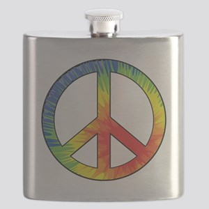 Peace Sign Tie Dye Offset Rainbow Flask
