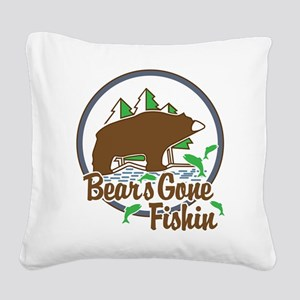 Bear's Gone Fishn' Square Canvas Pillow