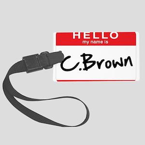 C. Brown Large Luggage Tag