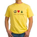 Peace Love Xmas Yellow T-Shirt
