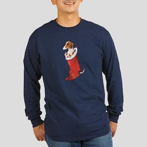 Piebald Dachshund Stocking Long Sleeve Dark T-Shir