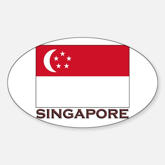 Singapore Flag Stuff Oval Decal