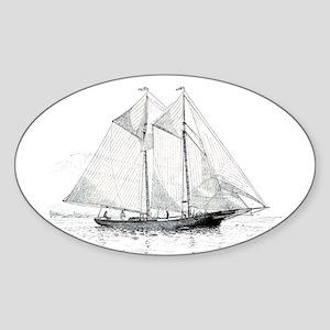 American Fishing Schooner Sticker (Oval)