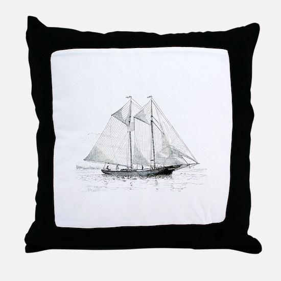 American Fishing Schooner Throw Pillow