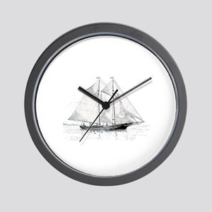 American Fishing Schooner Wall Clock