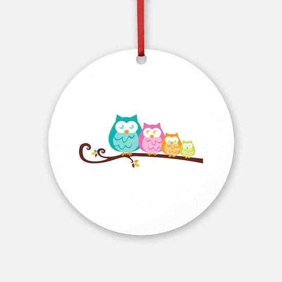 Owl family Ornament (Round)