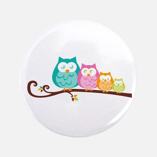 "Owl family 3.5"" Button"