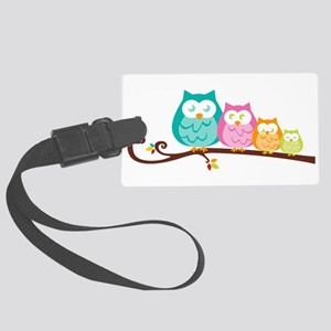 Owl family Large Luggage Tag