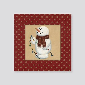 """Snowman With Lights Square Sticker 3"""" x 3"""""""