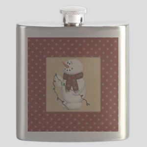 Snowman With Lights Flask