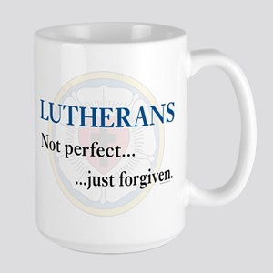Lutherans Not Perfect Just Forgiven Large Mug