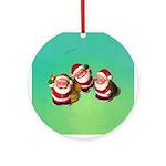 Three Santas (round) Round Ornament