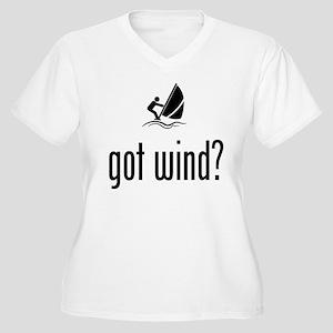 Wind Surfing Women's Plus Size V-Neck T-Shirt