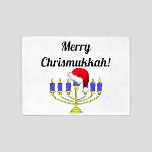 Merry Chrismukkah Menorah 5'x7'Area Rug