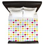 Rainbow Hearts King Duvet
