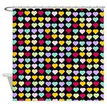 Rainbow Hearts Shower Curtain