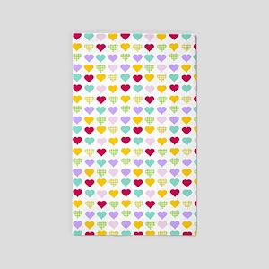 Rainbow Hearts 3'x5' Area Rug