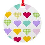 Rainbow Hearts Round Ornament