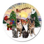 TakeOff3-2dogs-2cats Round Car Magnet