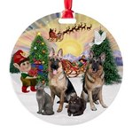 TakeOff3-2dogs-2cats Round Ornament