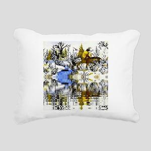 Native American Warrior Rectangular Canvas Pillow