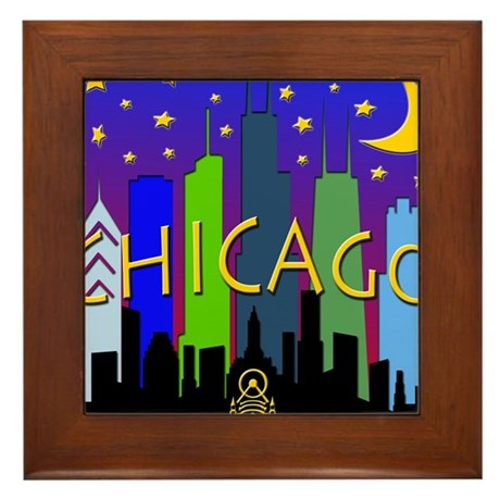 Chicago Skyline nightlife Framed Tile