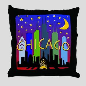 Chicago Skyline nightlife Throw Pillow