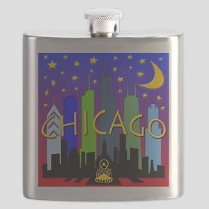 Chicago Skyline nightlife Flask