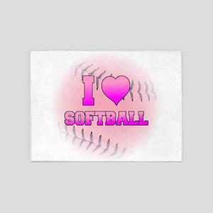 I Heart Softball 5'x7'Area Rug