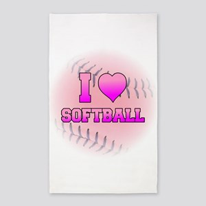 I Heart Softball 3'x5' Area Rug