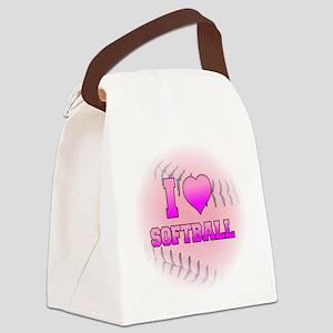 I Heart Softball Canvas Lunch Bag