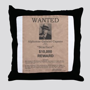 Al Capone Wanted Poster Throw Pillow