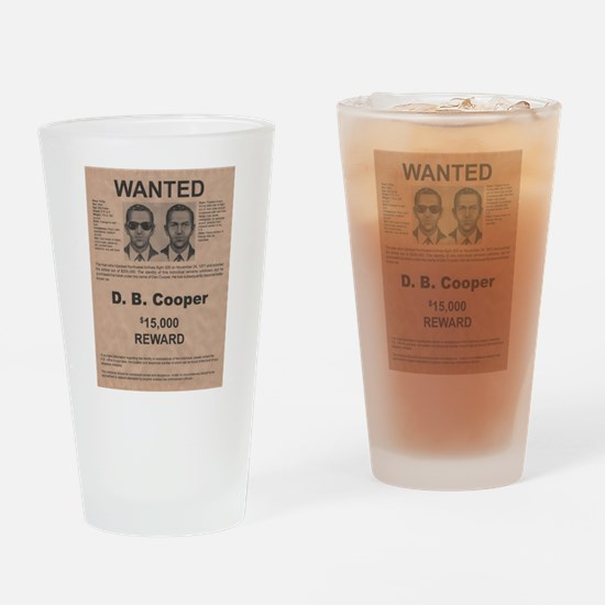 DB Cooper Wanted Poster Drinking Glass