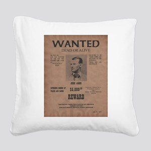 Jesse James Wanted Poster Square Canvas Pillow