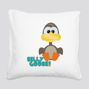 silly goose Square Canvas Pillow