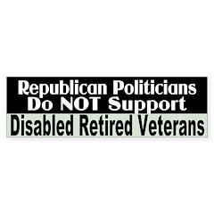 No Support for Veterans Bumper Bumper Sticker