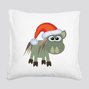 donkey santa Square Canvas Pillow