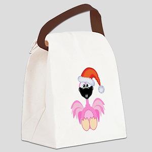 flamingo santa Canvas Lunch Bag