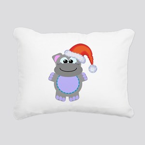 hippo santa Rectangular Canvas Pillow
