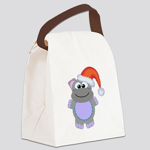 hippo santa Canvas Lunch Bag