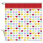 Rainbow Hearts Red Border Shower Curtain