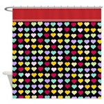 Black and red Rainbow Hearts Shower Curtain