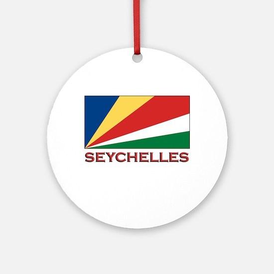 Seychelles Flag Gear Ornament (Round)