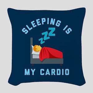 Sleeping is My Cardio Woven Throw Pillow