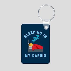 Sleeping is My Cardio Aluminum Photo Keychain