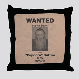 Popcorn Sutton Wanted Poster Throw Pillow