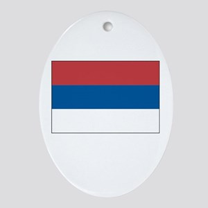 Serbia Flag Picture Oval Ornament