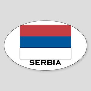 Serbia Flag Stuff Oval Sticker