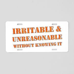 """""""Irritable"""" Aluminum License Plate"""